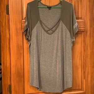 Olive green and grey tunic